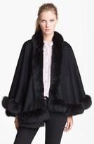 Sofia Cashmere Genuine Fox Fur Trim Short Cashmere Cape