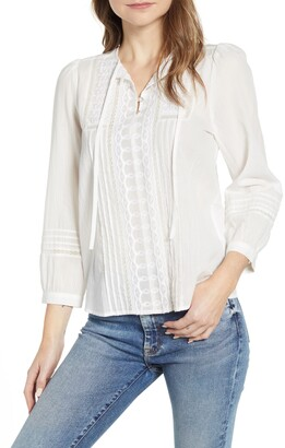 Lucky Brand Lily Embroidered Popover Top