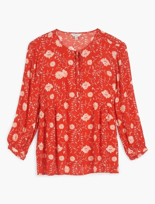 Lucky Brand Printed Serena Peasant Top