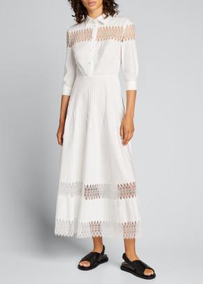 Huishan Zhang 3/4-Sleeve Cotton Midi Shirtdress w/ Lace Insets
