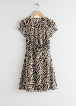 And other stories Ruched Leopard T-Shirt Dress