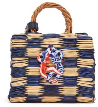 Heimat Atlantica - Tom Tom Mini Leather-strap Woven-reed Bag - Blue Multi