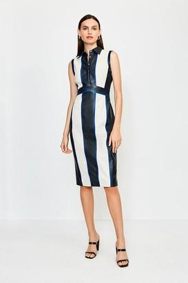 Karen Millen Leather Colour Block Collared Dress