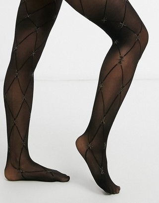 Pretty Polly Christmas star diamond tights in black and gold