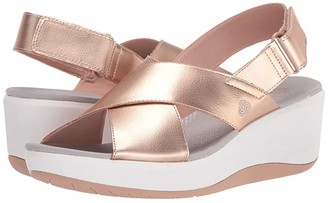 Clarks Step Cali Cove (Rose Gold Synthetic) Women's Wedge Shoes