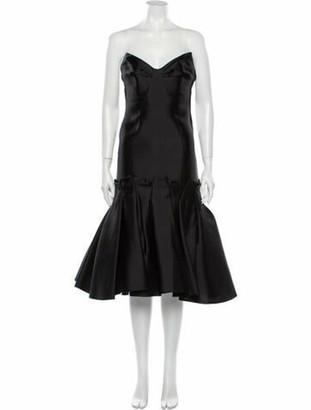 Angel Sanchez Silk Knee-Length Dress Black