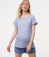 LOFT Maternity Striped Tulip Sleeve Tee