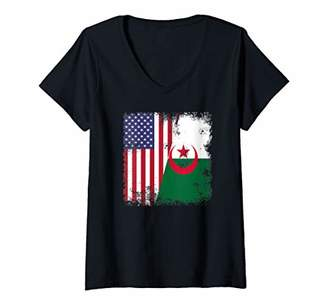 Womens Half Algerian Flag Design | Vintage Algeria USA Gift V-Neck T-Shirt