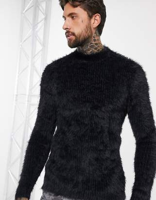 Asos Design DESIGN fluffy textured knitted roll neck sweater in black