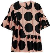 Stella McCartney Ruched Polka-dot Silk Top - Blush