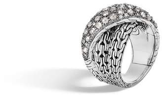 John Hardy Classic Chain Overlap Ring With White And Grey Diamonds