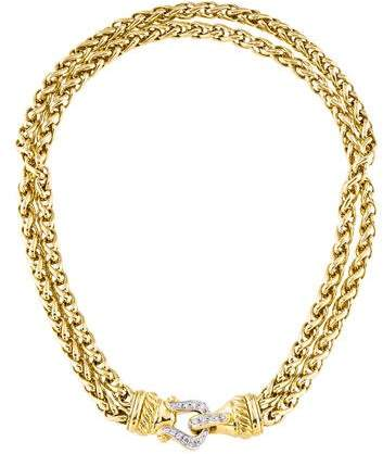David Yurman 18K Diamond Buckle Double Chain Necklace
