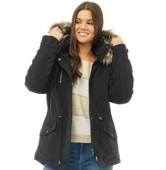 Only Womens Starlight Fur Parka Black