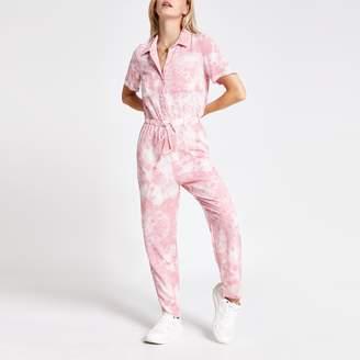 River Island Womens Petite Pink tie dye boiler jumpsuit