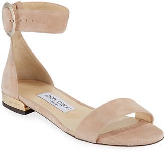 Jimmy Choo Jaime Suede Ankle-Strap Flat Sandals