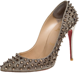 Christian Louboutin Gold Glittered Leather Follies Spikes Pointed Toe Pumps Size 38