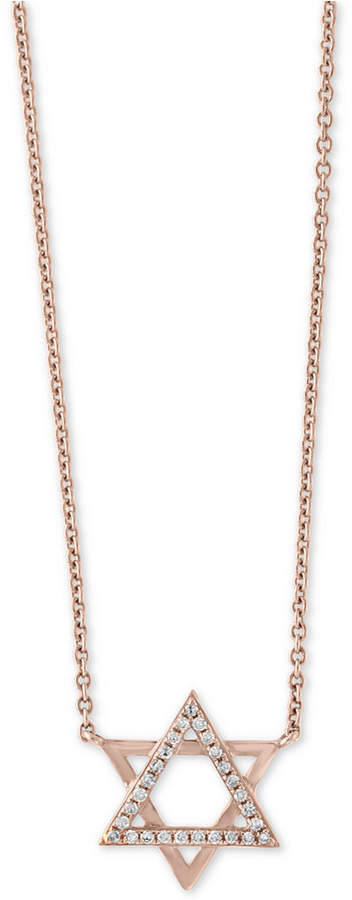 "Effy Gift by Diamond Accent Star of David 18"" Pendant Necklace in 14k Rose Gold"