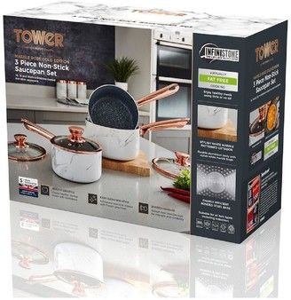 Tower Marble Rose Gold Edition Set of 3 Saucepans