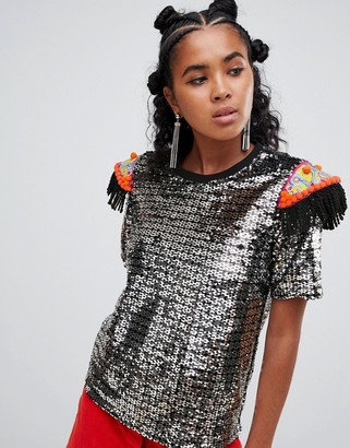 Ragyard t-shirt in sequin with beaded patches-Silver