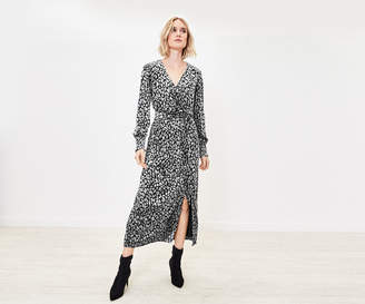 Oasis Animal Velvet Wrap Dress
