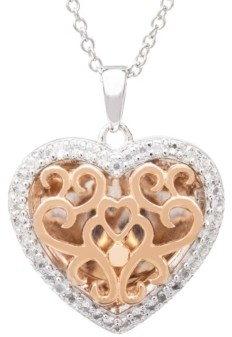 With You Lockets Mary White Topaz (1/5 ct. t.w.) Photo Heart Shaped Locket Necklace in 14k Rose Gold over Sterling Silver
