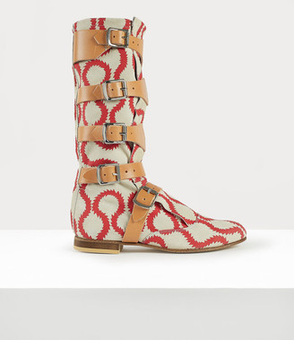 Vivienne Westwood Pirate Boots Squiggle Red/White
