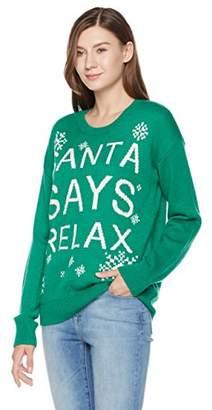 Ugly Fairisle Unisex Adult Jacquard Santa Says Relax Crewneck Christmas Sweater L Green/White