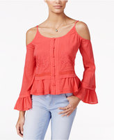 Jessica Simpson Cold-Shoulder Peplum Blouse