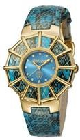 Roberto Cavalli Womens Blue Leather Strap With Turquoise Dial.