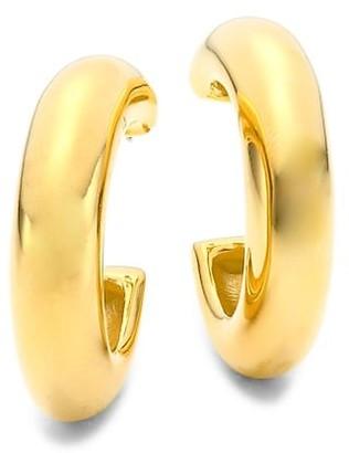 Kenneth Jay Lane 22K Goldplated Thick Hoop Earrings