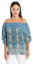 NY Collection Women's Petite Size Printed 3/4 Sleeve Ruffle Off the Shoulder Blouse