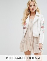 Glamorous Petite Stud And Embroidered Biker Jacket