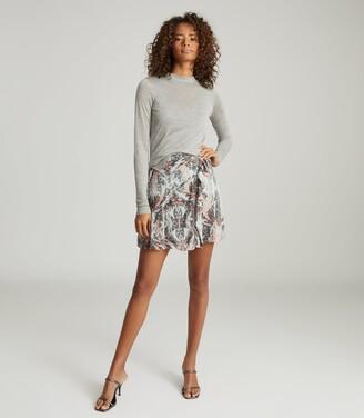 Reiss Aurellie - Semi-sheer Slim-fit Top in Grey Marl