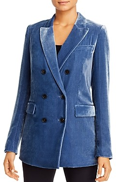 Lafayette 148 New York Slade Velvet Double-Breasted Blazer