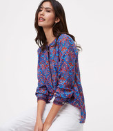 LOFT Floral Mosaic Henley Softened Shirt