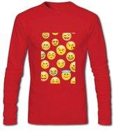 DIYgarment Emoji Face Design Men's Long Sleeve Custom T shirt