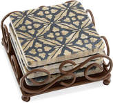 Thirstystone Set of 4 Travertine Mosaic Coasters with Scroll Holder