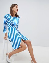 Pieces long sleeve stripe mini wrap dress