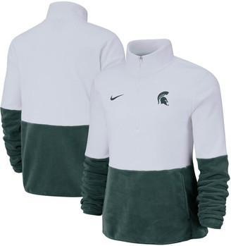 Nike Women's White/Green Michigan State Spartans Colorblock Performance Half-Zip Jacket