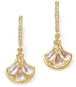 Temple St. Clair 18K Yellow Gold Lotus Drop Earrings with Royal Blue Moonstone and Diamonds