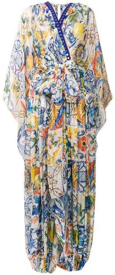 Dolce & Gabbana printed pleat maxi dress