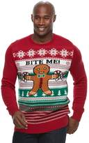 """Method Products Big & Tall Gingerbread Man """"Bite Me!"""" Ugly Christmas Sweater"""