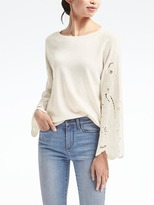 Banana Republic Embroidered Lace-Sleeve Sweatshirt