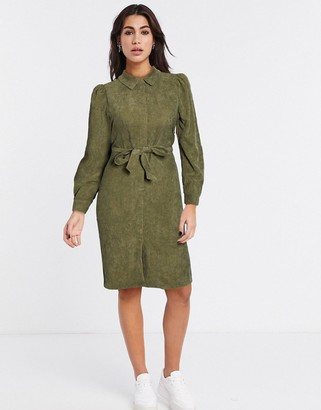 Vero Moda cord shirt dress in green