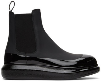 Alexander McQueen Black Glossy Chunky Chelsea Boots