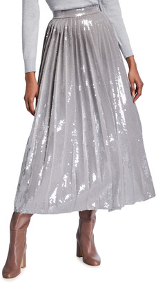 Brandon Maxwell Sequined Pleated Tea-Length Skirt