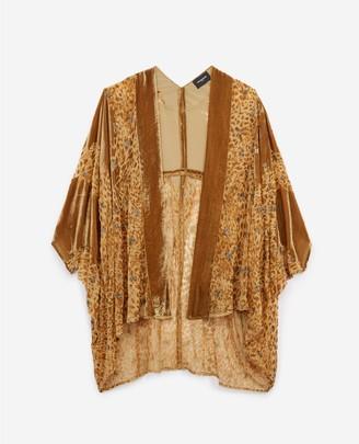 The Kooples Beige short velvet kimono, leopard embroidery