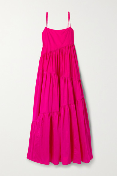 Matteau + Net Sustain Open-back Tiered Cotton And Silk-blend Voile Maxi Dress - Fuchsia
