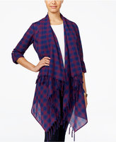 One Hart Juniors' Plaid Fringe Cardigan, Only at Macy's