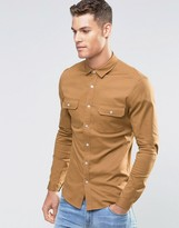 Asos Skinny Military Shirt In Tan Twill With Long Sleeves